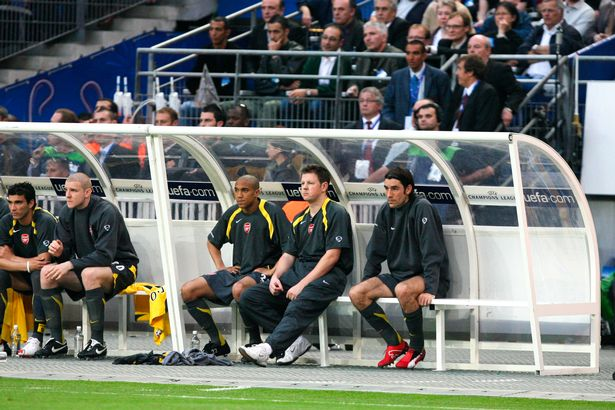Robert Pires of Arsenal looks dejected during the Champions League Final match between Barcelona and Arsenal at Stade de France, Paris, France on May 17th 2006