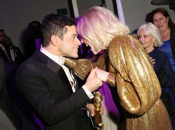 Rami Malek and Lucy Boynton attend the FOX/HULU Golden Globe Awards viewing party and post-show celebration