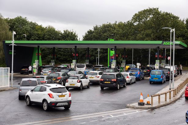 People queuing for petrol
