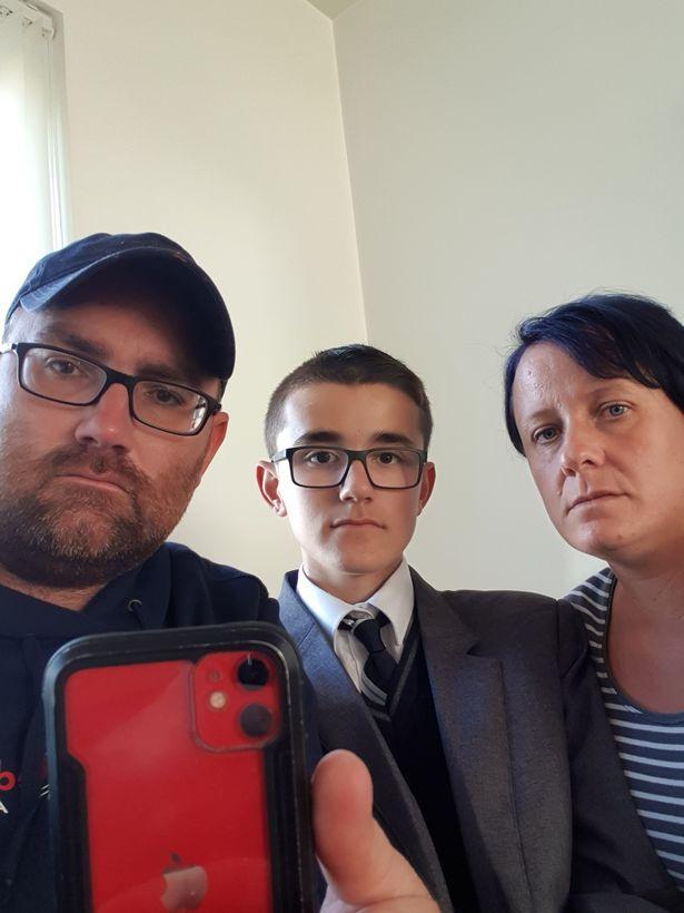 Dad, David Gemmell (left), son Keane (middle), mum Jody (right)