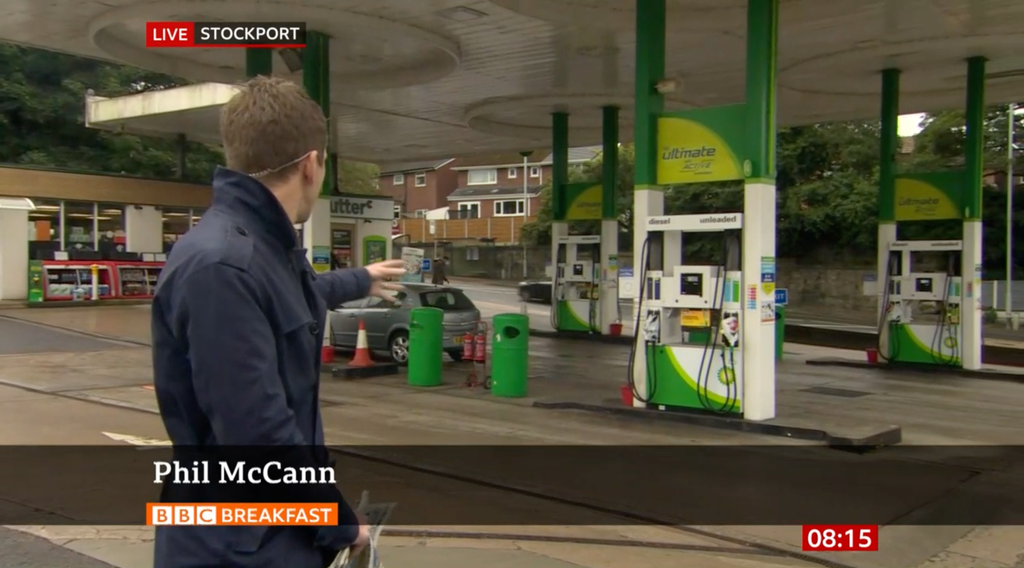 A journalist named Phil McCann covered the petrol shortage and people can't stop laughing