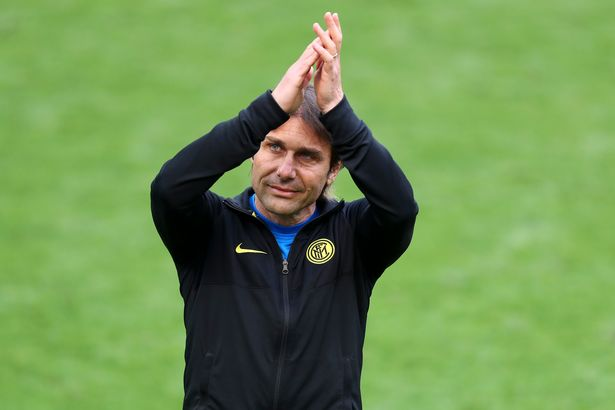 Head coach Antonio Conte of Inter Milan gestures during the Serie A match against Udinese at Stadio Giuseppe Meazza on May 23, 2021 in Milan, Italy