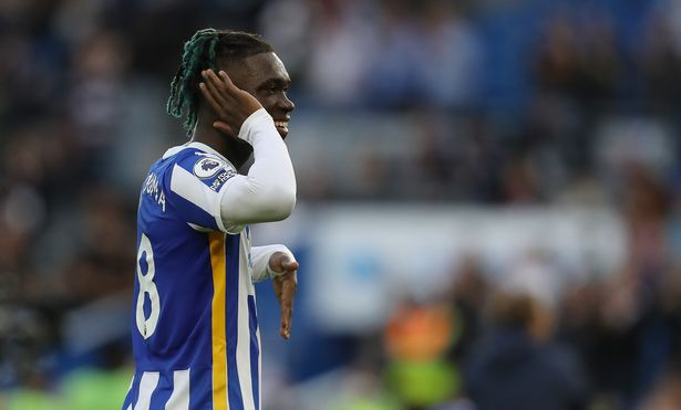 Brighton and Hove, England, 21st August 2021. Yves Bissouma of Brighton and Hove Albion celebrates after his team win the Premier League match at the AMEX Stadium, Brighton and Hove. Picture credit should read: Paul Terry / Sportimage via PA Images