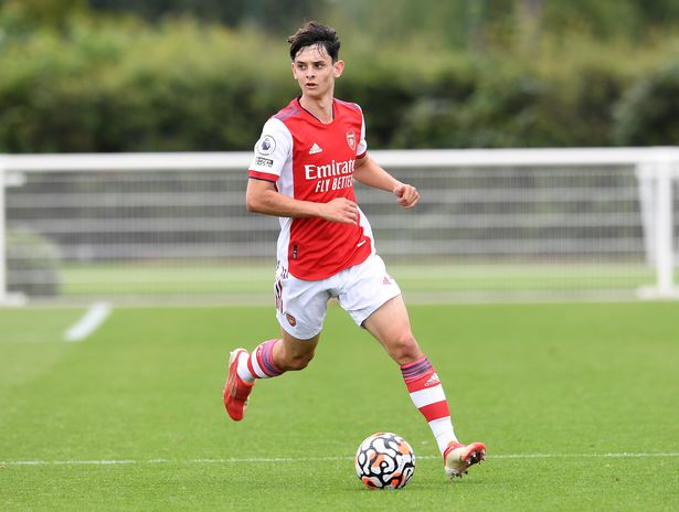 Charlie Patino of Arsenal during the Premier League 2 match between Tottenham Hotspur U23 and Arsenal U23 at Tottenham Hotspur Training Centre