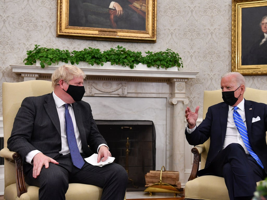 Awkward moment as Biden aides demand reporters leave as Boris Johnson was speaking