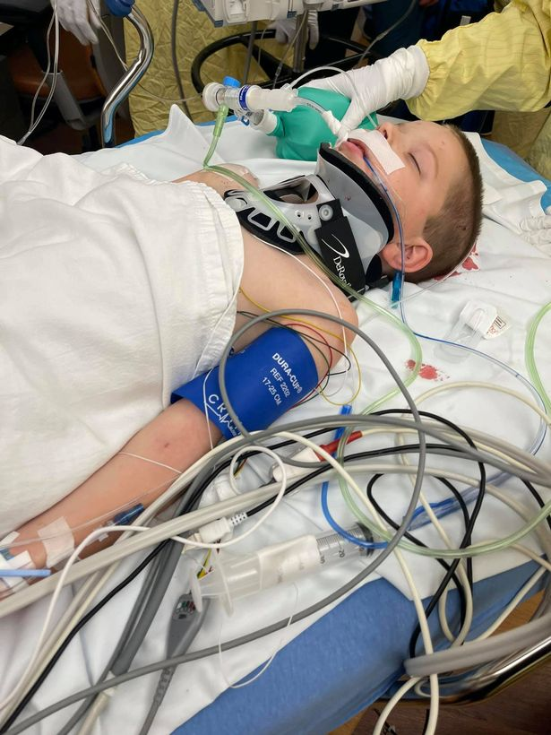 Boy, 6, fighting for his life after lawnmower fires '12 inch projectile' into his head