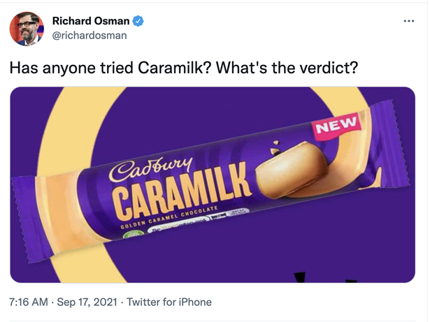 Richard Osman asks what Cadbury's Caramilk bars are like