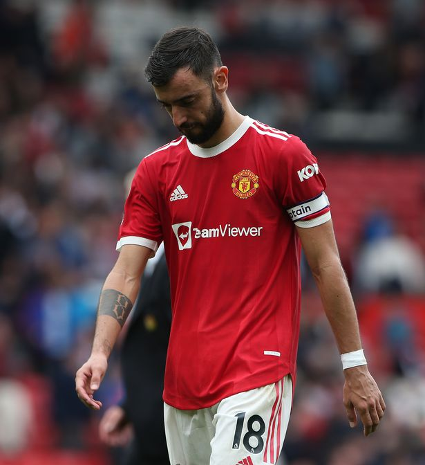Bruno Fernandes of Manchester United walks off after the Premier League match between Manchester United and Aston Villa at Old Trafford on September 25, 2021 in Manchester, England