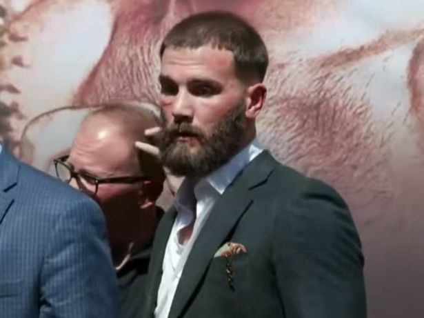 Caleb Plant suffered a cut below his right eye