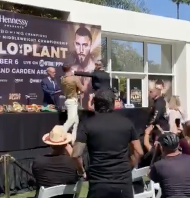 Canelo Alvarez and Caleb Plant clashed during their press conference