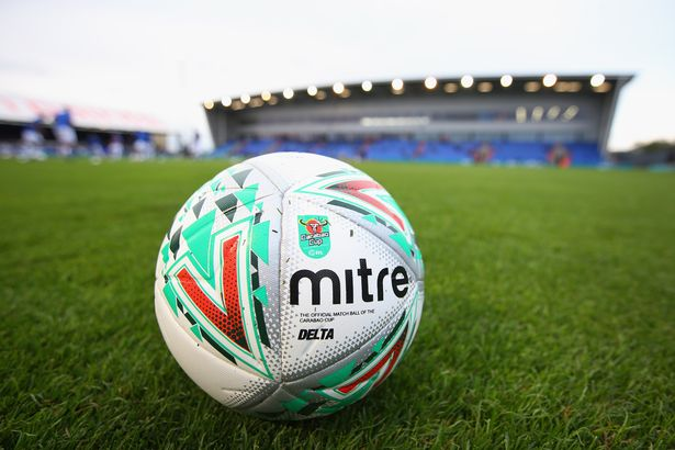 training ball is seen with the Carabao Cup logo prior to the Carabao Cup First Round match between Oldham Athletic and Derby County at Boundary Park on August 14, 2018 in Oldham, England.