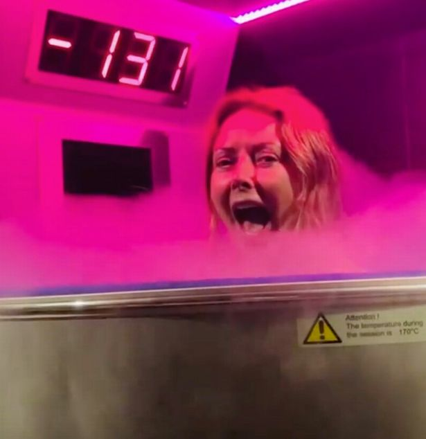 Carol Vorderman, 60, slips into a bikini and gasps in utter shock as she completes three minute cryotherapy session for 'health and healing'