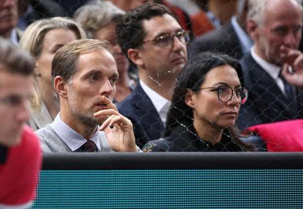 Coach of Paris Saint-Germain Thomas Tuchel and his wife Sissi Tuchel attend the final between Karen Khachanov of Russia and Novak Djokovic of Serbia during day 7 of the Rolex Paris Masters 2018 at the AccorHotels Arena in Bercy on November 4, 2018 in Paris, France.