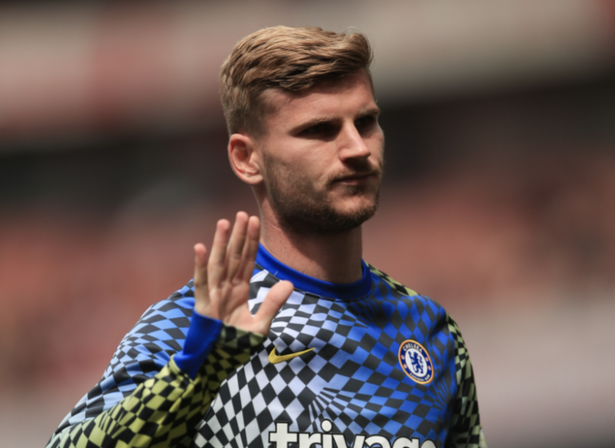 Timo Werner warming up for Chelsea