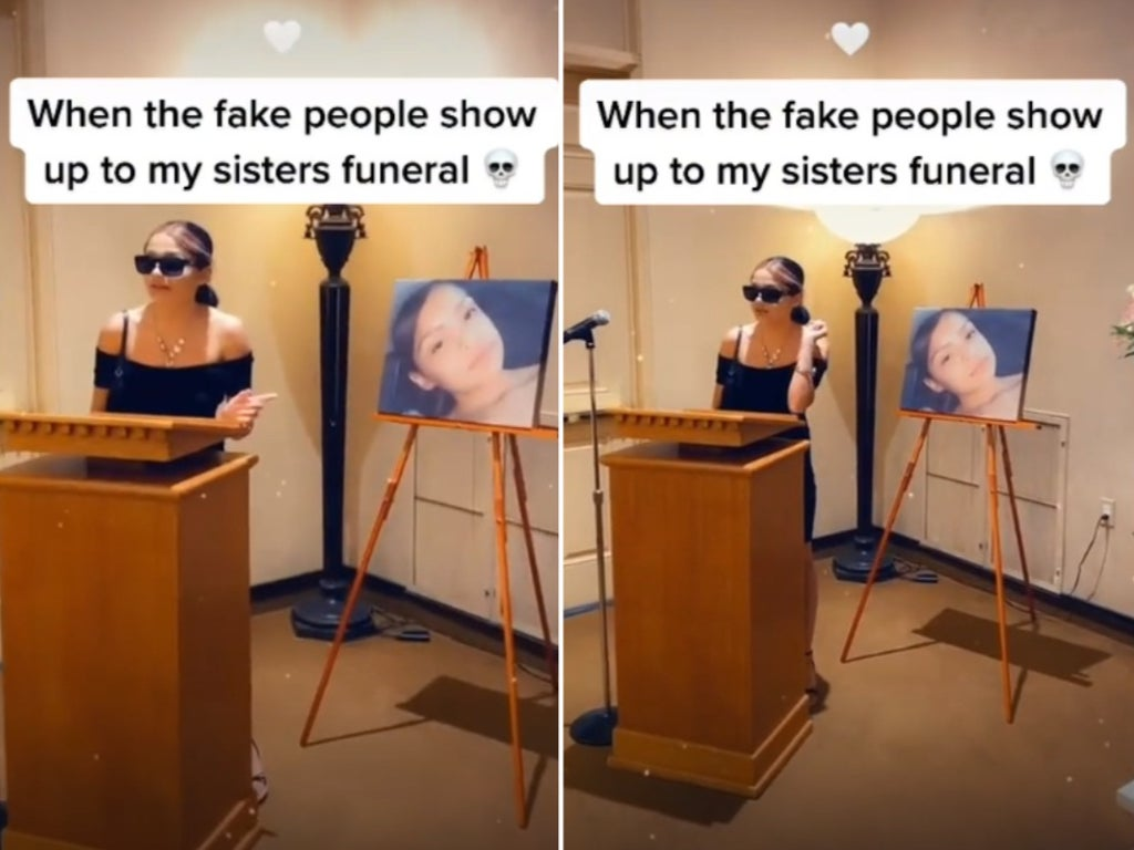 Clip goes viral after woman appears to call out 'fake people' at her sister's funeral