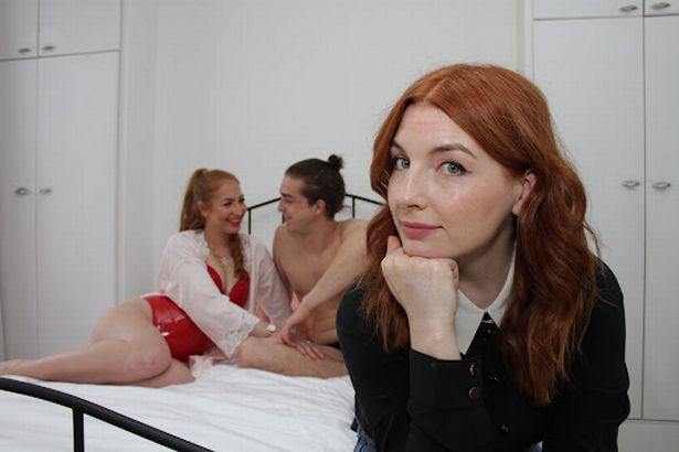 Alice Levine in front of Kayla and Jack