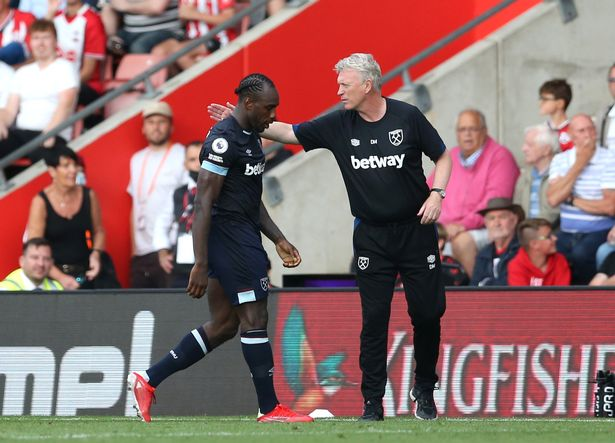 Michail Antonio of West Ham United is consoled by David Moyes