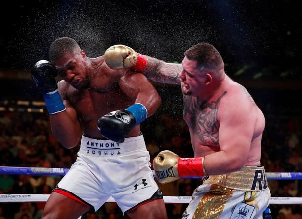 Andy Ruiz Jr in action with Anthony Joshua
