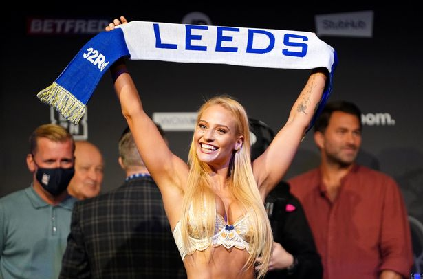 Ebanie Bridges during the weigh-in at the New Dock Hall, Leeds. Picture date: Friday September 3, 2021. PA Photo.