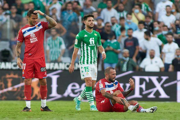 Aleix Vidal of Espanyol hurts during the Spanish league La Liga Santander football match played between Real Betis and RCD Espanyol at Benito Villamarin stadium on September 19, 2021, in Sevilla, Spain.