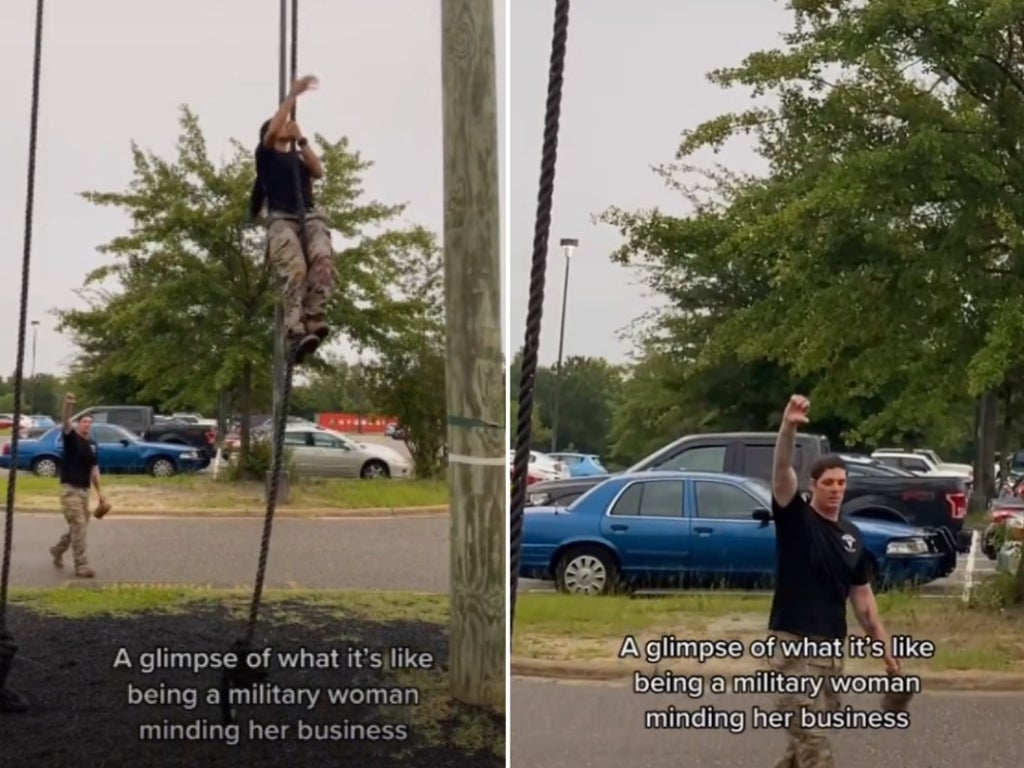 Female soldier calls out her male colleague for giving her a thumbs down in military training video