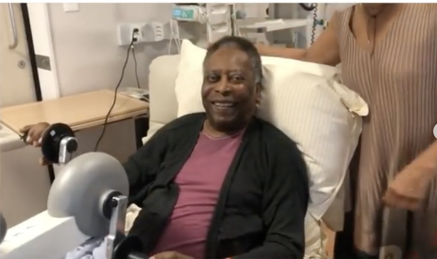 Pele was all smiles as he pedalled an exercise bike as he recovers in hospital