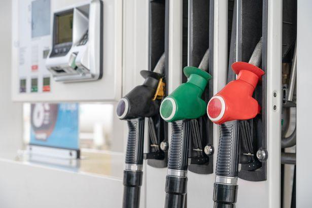 Red green black colour fuel gasoline dispenser background