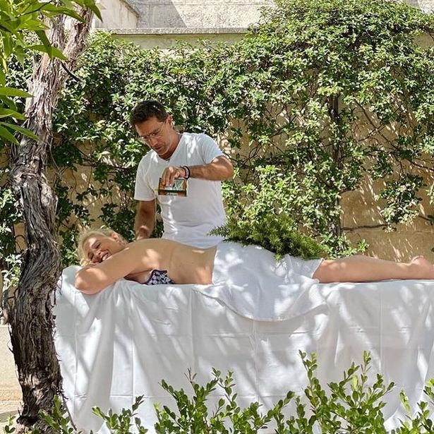 Gino D'Acampo poured oil on his wife for a saucy massage