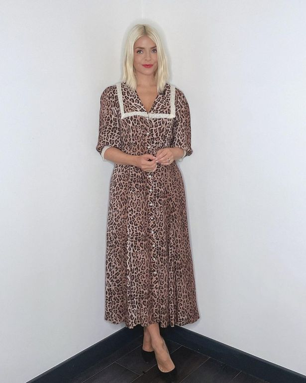 Image of Holly Willoughby in floral patterned dress