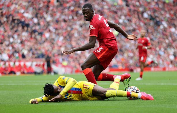 Ibrahima Konate bullied Wilfried Zaha on Liverpool debut and left him on the deck