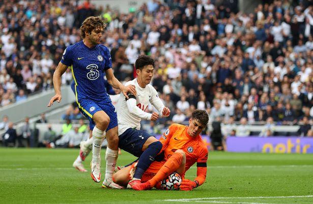 Kepa denies Son Heung-min during Chelsea's win over Tottenham on Sunday