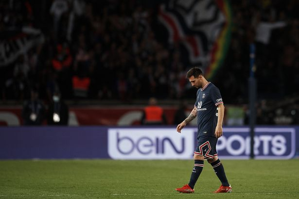 Lionel Messi of PSG dejected after Olympique goal during the Ligue 1 Uber Eats match between Paris Saint Germain and Lyon at Parc des Princes on September 19, 2021 in Paris, France.