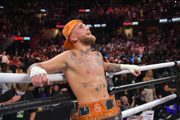 Jake Paul reacts after defeating Tyron Woodley by split decision in their cruiserweight bout in Cleveland