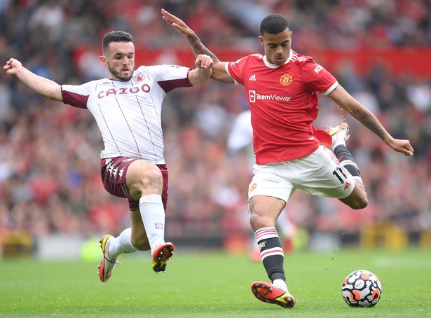 Mason Greenwood in action during Manchester United's defeat to Aston Villa