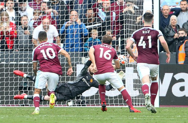 Mark Noble came off the bench to try and claim an equaliser for West Ham but his effort was saved by the Man United goalkeeper