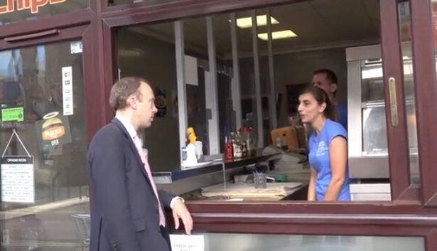 Matt Hancock visiting a chip shop in Haverhill