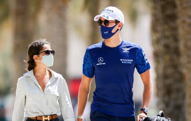 George Russell with his girlfriend Carmen Montero at the Bahrain Grand Prix