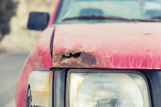 Busted-up car