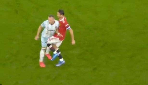 Matic appeared to knee Coufal below the belt