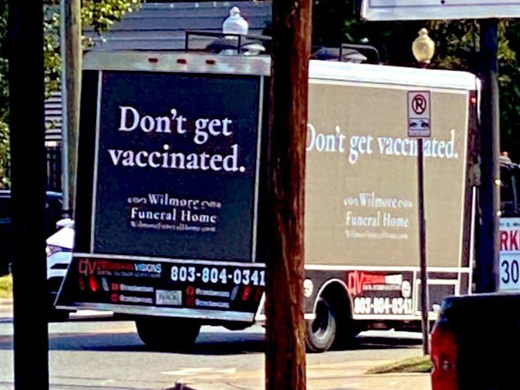 North Carolina truck advertises funeral home with slogan 'don't get vaccinated' in pro-vaccine publicity stunt