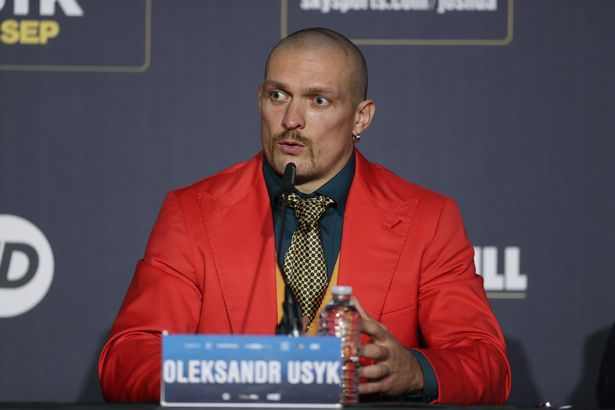Oleksandr Usyk at a press conference