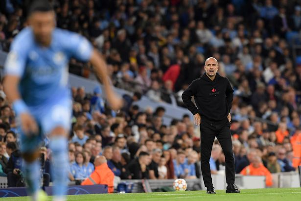 MANCHESTER, ENGLAND - SEPTEMBER 15: (BILD OUT) head coach Pep Guardiola of Manchester City looks on during the UEFA Champions League group A match between Manchester City and RB Leipzig at Etihad Stadium on September 15, 2021 in Manchester, United Kingdom. (Photo by Vincent Mignott/DeFodi Images via Getty Images)