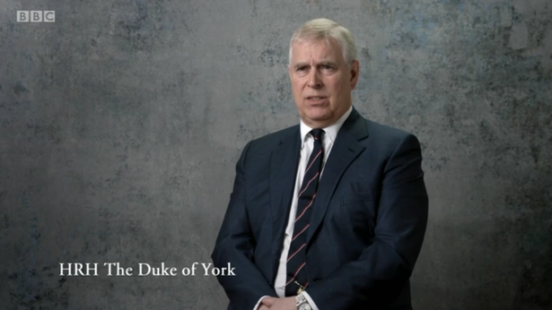 Prince Andrew appeared on screen, speaking about his late father