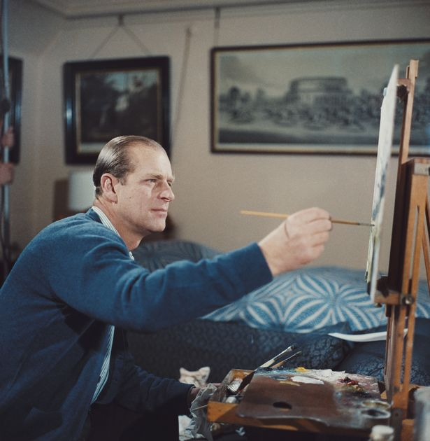 Prince Philip, Duke of Edinburgh pictured painting with oil colours at an easel during filming of the television documentary 'Royal Family' in London in 1969. The documentary would be first broadcast to the nation's television viewers on 21st June 1969. (Photo by 1_Prince_Philip_Painting.jpg/Getty Images)