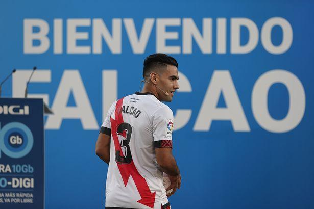 New transfer of Rayo Vallecano Radamel Falcao attends his presentation ceremony at Vallecas stadium, in Madrid, Spain on September 16, 2021.