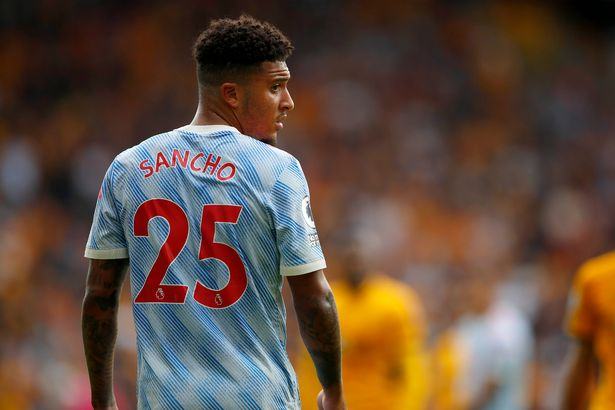 Jadon Sancho of Manchester United looks on during the Premier League match between Wolverhampton Wanderers and Manchester United at Molineux on August 29, 2021 in Wolverhampton, England.