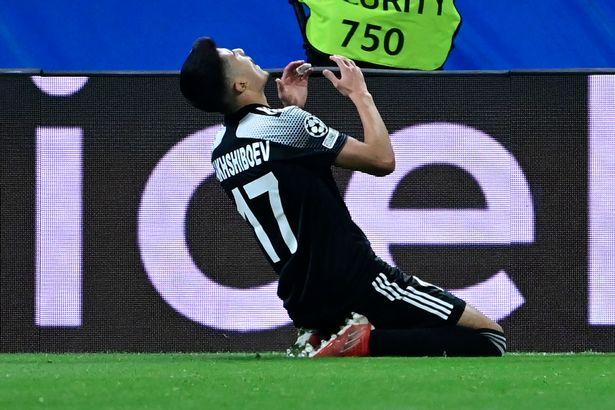 Jasurbek Yakhshiboev celebrates scoring for Sheriff