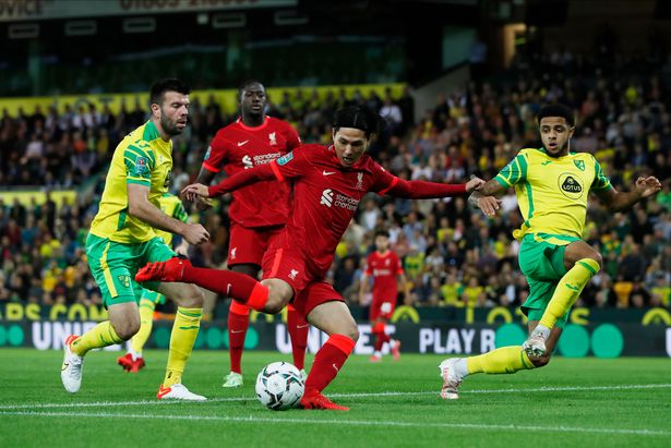 Takumi Minamino opens the scoring in Liverpool's 3-0 win over Norwich in the Carabao Cup