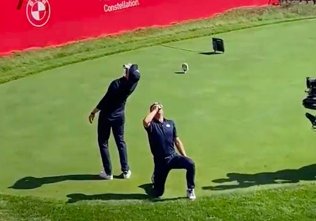 Daniel Berger (left) and Justin Thomas (right) fired up the crowd by chugging beer on the first tee