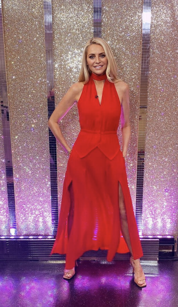Tess stole the show in a long red dress with amazing side slits